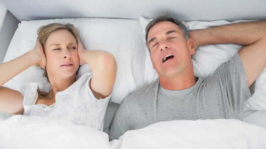 Wife can't sleep because husband is snoring